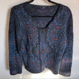 Peruvian Connection 100% Alpaca Zip Up Sweater